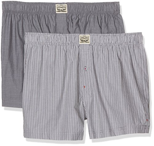 Levi's Herren Boxershorts Levis 300ls Striped Chambray Woven Boxer 2p, 2er Pack Grey (anthracite Denim)