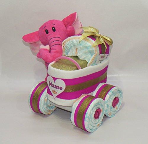 'pañales pañales para tartas-Cochecito XL de neumáticos 'Princesa + Elefante