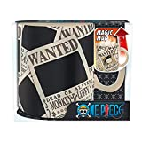 One Piece - Keramik Thermoeffekt Tasse Riesentasse 460 ml - Wanted - Luffy Ruffy - Zoro - Tony Chopper - Geschenkbox