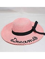 PVOWEJF Sombrero de Playa Sombrero de Sol para Mujer Sombrero de Paja Letra Bordado Harajuku Vintage