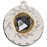 50mm silber Badminton Medal Heavyweight mit Schleife und Gratis Gravur bis zu 30Buchstaben