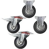 100mm 4 CST03/_05 8 Pack fijas y giratorias de goma con freno ruedas orientables