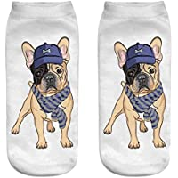 OHlive Suave Women Dog 3D Impreso Sneakers Liners Tobillo Calcetines (1 par-GG14-One Size) (Color : GG14, tamaño : Talla única)