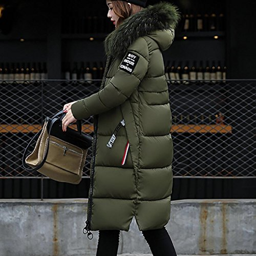 Rawdah Femmes Solide Casual Épais Hiver Slim Down Lammy Veste Manteau Pardessus Style Long Armée verte