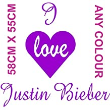 I Heart Love Justin Bieber arte de la pared vinilo 600x 500mm