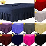Easy Care Percale Plain Fitted Valance Sheet Poly-Cotton Bed Sheet (Double, Plum)