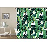 Knbob Polyester Duschvorhang Grüne Bananenblätter Badewanne Vorhang 150x180CM mit 12 Duschvorhangringen