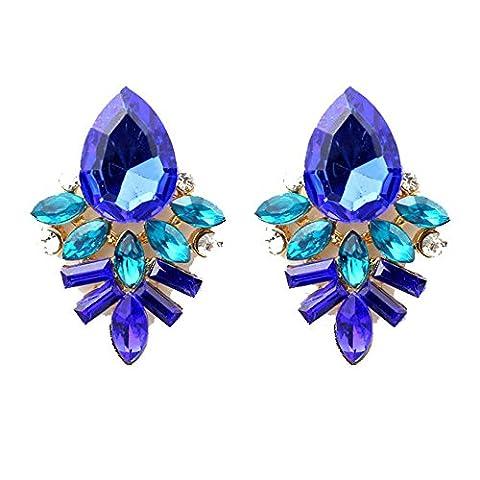 Covermason Fashion femmes Lady strass cristal goutte alliage oreille clou boucles d'oreilles (bleu)