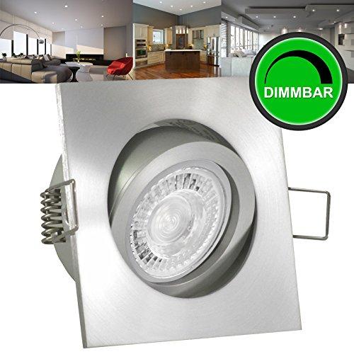 10er Set (10-12er Sets) Einbaustrahler LUCIDO (eckig / quadratisch) Alu Silber; 230V GU10; SMD LED 7,5W = 70W; DIMMBAR; Warm-Weiß; schwenkbar; Einbauleuchte Einbauspot Downlight