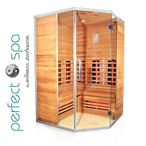 """Preisvergleich Produktbild Infrarotkabine """"Teneriffa"""" Infrarot Sauna für bis zu 3 Personen Wärmekabine Infrarotsauna Eckvariante"""