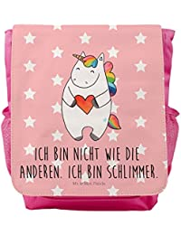 Preisvergleich für Mr. & Mrs. Panda Kinderrucksack Einhorn Herz - 100% handmade in Norddeutschland - Herz, böse, anders, rosa, bunt...