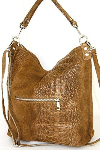 Shopper borsa, borsa a tracolla, Mod. 2107 pelle, croco-look Italy Caramello