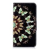 Chreey Huawei Honor 7X Hülle, Leder Handyhülle Flip Case Bunt Muster Handy Schutzhülle mit Brieftasche Kartenfach Magnetverschluss [Gold Schmetterling]