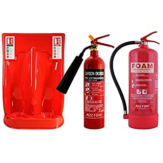 Budget Office Fire Extinguisher Deal - 2kg CO2 & 9 Litre Water Extinguishers, Double Stand & ID Signs