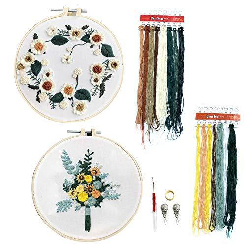 DOITEM 2Pack Stick Starter Kit mit Muster Vollsortiment an gestempelten Sticksets, einschließlich Stickstoff mit Muster, Stickrahmen, Farbfäden und Werkzeugset (Blumen und Sonnenblume -