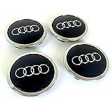 Lot de 4 caches-moyeu pour Audi Noir 69mm 8T0601170A Convient pour Audi A3A4A5A6A7A8S4S5S6S8RS4Q3Q5Q7TT A4L A6L S Line Quattro et autres modèles 8T0601170