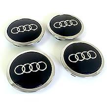 8T0 601 170A - Juego de 4 tapas para tapacubos de Audi A3 A4 A5 A6 A7 A8 S4 S5 S6 S8 RS4 Q3 Q5 Q7 TT A4L A6L S line Quattro entre otros modelos, 69 mm, diseño con logo de Audi, acabado cromado, color negro