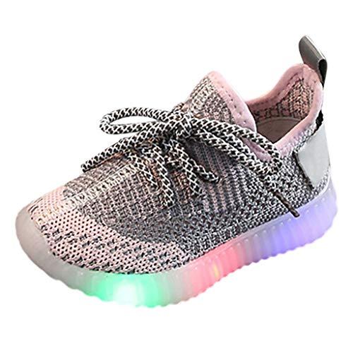 AIni Baby Schuhe 2019 Neuer Beiläufiges Mode Kinder Baby Mädchen Jungen Mesh Led Licht Laufen Sport Sneaker Schuhe Lauflernschuhe Krabbelschuhe Kleinkinder Schuhe (22,Rosa) -