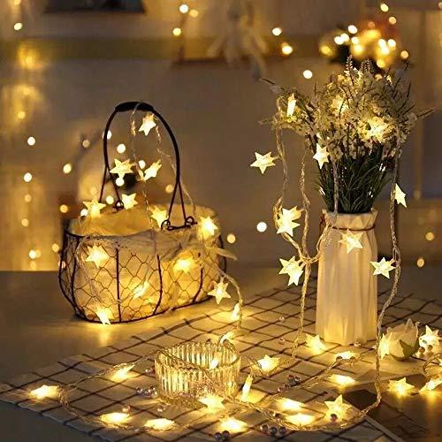 JUNMAONO 1 Stück Weihnachts Dekoration LED Lichterkettenvorhang 10m wasserfest Sternen 100 Stück Lichter Einstecken Stil LED Lichterkette Lichtervorhang für Weihnachten Deko (Warmweiß)