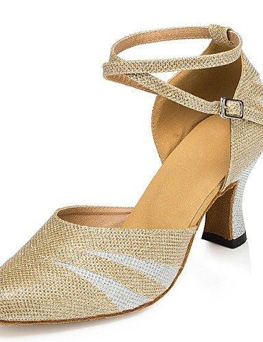 ShangYi Chaussures de danse ( Noir / Or ) - Non Personnalisables - Talon Bottier - Cuir / Similicuir / Paillette Brillante -Latine / Jazz /
