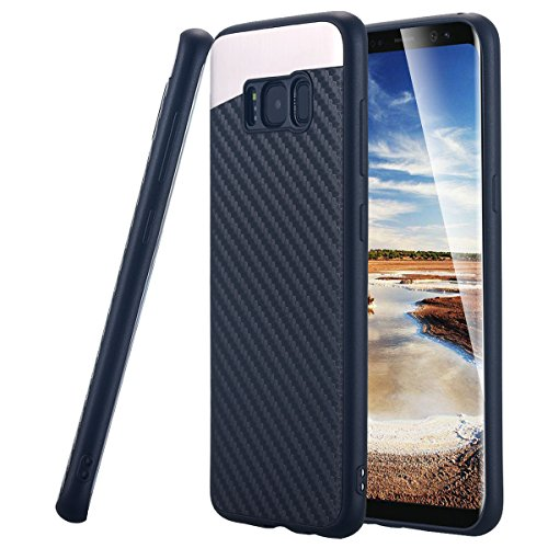 Galaxy S8 Hülle,Galaxy S8 Case, Snewill Ultra Slim Thin Soft Touch Carbon Fiber Anti-Slip Protective Case Cover for Samsung Galaxy S8 - Black