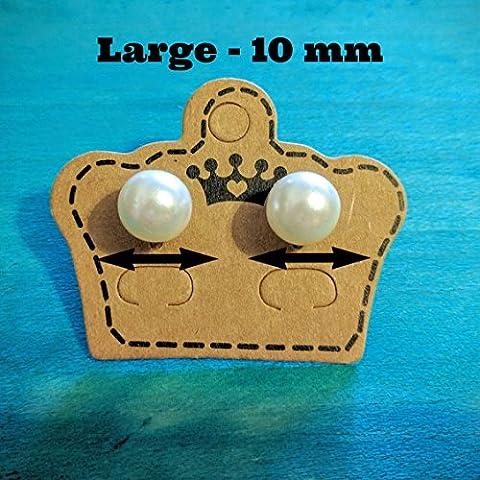 Simple Large 10 mm Pearl Earrings Jewellery Vintage Ladies Fashion (Simple Large 10 mm Pearl Earrings)