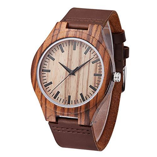 Armbanduhr TY * Leuchtendem Uhr, Vintage Industrial Original handgemachte hölzerne Uhr Trend kreative Gesundheit und Umweltschutz - Sport, braun Uhren (Color : A)
