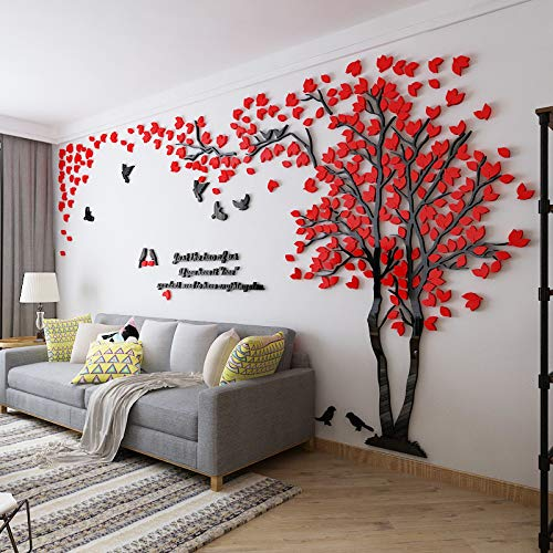 Einfache Dekoration der Stereo Wandaufkleber-Wohnzimmer Kreativen Fernsehhintergrund-Wand des Acryls 3d Rote Blätter Rechts in der Mitte (Einfach Kinderschminken Schmetterling)