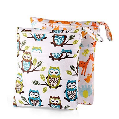 Yangmg 2Pcs Windel Tasche Staubdicht Baby Umweltfreundlich Reißverschluss Nasstaschen Organiser Beutel