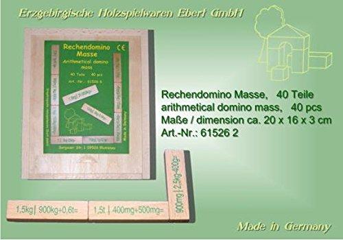 Rechendomino Masse 40 Teile Einheiten der Masse untereinander umrechnen und addieren und subtrahieren, Einheiten: mg, g, kg, t Maße 20 x 16 x 3 cm NEU Erzgebirgische Vokskunst Erzgebirgische Handarbeit Mathespiel Knobelspiel Denkspiel