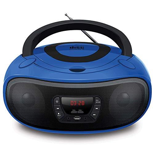 LONPOO Lettore CD Portatile Boombox Bluetooth/ Radio FM/ USB/ Auricolare/ ingresso AUX, audio stereo (Blu)