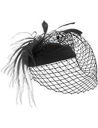 MBZY Tocado de Pelo Plumas Mujer Sombrero con Malla Vintage Boda Noche  Fiesta Negro 5fa43637b873