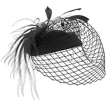 MBZY Tocado de Pelo Plumas Mujer Sombrero con Malla Vintage Boda Noche  Fiesta Negro bd02cb8c246
