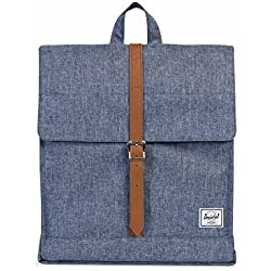 Herschel City Mid-Volume Dark Chambray Crosshatch/Tan Synthetic Leather