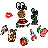 Magideal Mixed Iron-on Applique Glitter Sequin Patches Sew-on Embroidery Patch