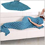 Yowao Mermaid Tail Blanket with Fish-scale Pattern - All Seasons Knitted Blanket, Sleeping Bag, 190x90cm (74.86'x35.46')