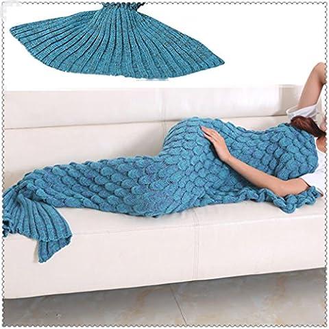 Yowao Meerjungfrau-Endstück-Decke für erwachsenes handgemachtes gestricktes Fisch-Skalen-Muster und alle Jahreszeit-Schlafsack 190x90cm (74.86 x 35.46 Zoll) - blauer See