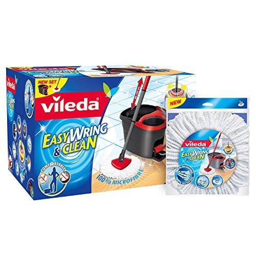 Vileda 133649 EasyWring & Clean Wischsystem - Set bestehend aus einem hochwertigen Microfaser Mop mi + Vileda 134302 EasyWring & Clean Wischmop Ersatzbezug - mit der Reinigungskraft der Microfaser für st