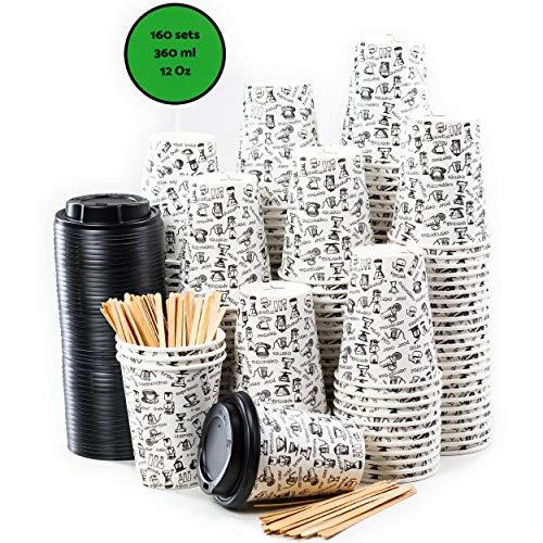 160 Bicchieri Carta per Prendere il Caffè - Tazza con Coperchio di 12 Oncia per Prendere il Caffè con le Stiratrici di Legno per il Prendere il Caffè, il Tè, le Bevande Calde e Fredde