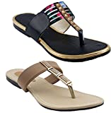 #8: Combo pack of three Slippers |Ladies Sandal |Beige Sandal | Beige |Women Flats | Ladies Slippers |Girls Slippers | Gold | Red |Beige and Red
