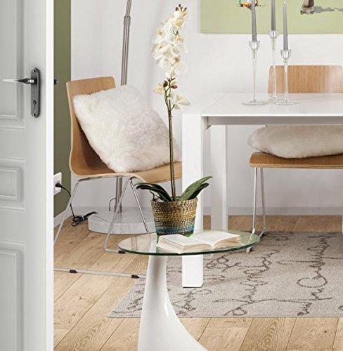 Clear Seat Table d'appoint design KOMA en verre transparent et pied blanc laqué
