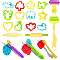 Windyeu 20pcs Dough Tools Play Set Kids Modelling Doh Clay Craft Rolling Pins Cookie Cutters (Dough Tools)