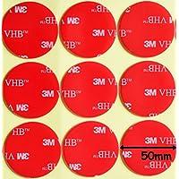Almohadillas circulares de espuma acrílica, de la marca 3M, transparentes, de doble cara, de 50 mm de diámetro x 1mm de grosor,resistentes a la intemperie, con cinta adhesiva VHB resistente - Modelo:4910, transparente, 6 Individual Pads