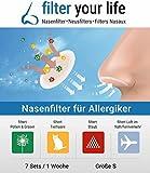 Filter your Life Filtro de nariz contra la alergia, el resfriado, pelusas, la alergia a los Ácaros del polvo, los pelos de perro, la alergia a los gatos, Los pelos de animales, el tabaquismo pasivo, la contaminación del aire, reduce el riesgo de Infección por virus