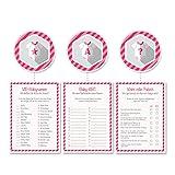 Babyparty Baby-Shower Deko Partyspiel Komplettset 24 Stück, 8x Wahr oder Falsch, 8x VIP-Babynamen, 8x Baby-ABC, mädchen rosa pink