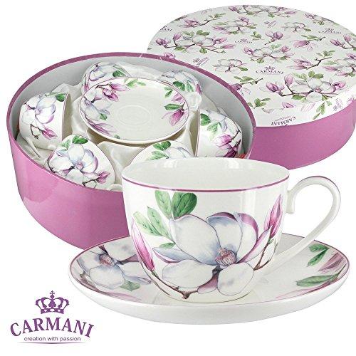 CARMANI - Porcelaine tasse de thé et soucoupe avec Magnolia ensemble de 6