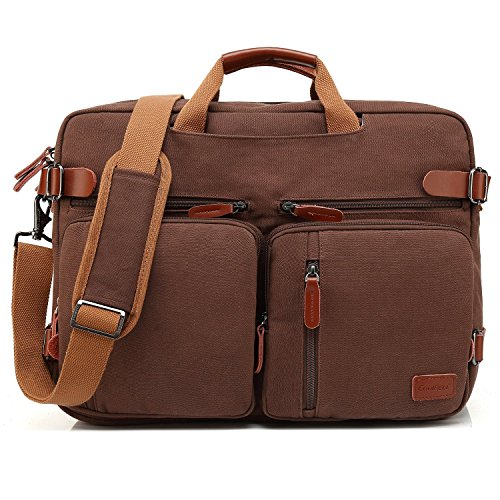 CoolBELL umwandelbar Aktentasche Messenger Bag Umhängetasche Laptop Tasche Business Backpack Multifunktions Reise Rucksack Notebook Schultertasche für 17 Zoll Laptop/Herren/Damen(Canvas Dunkel Kaffee) (Zoll Damen 17 Laptop-tasche)