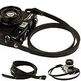 Schwarz ganze Leder Kamera Hals Gurt Schultergurt für Film SLR DSLR RF Leica Digital
