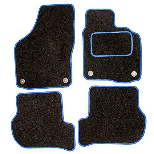 Sakura ss4955bu Alfombras de coche (con los controladores Side Alfombra talón Pad, Black/Blue Trim para Citroen C2todos los años
