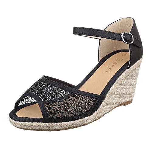 Damen Schuhe, YL011, SANDALETTEN KEIL WEDGES PUMPS Schwarz